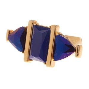 New Trina Turk Gold Blue Stone Rectangle Ring $98